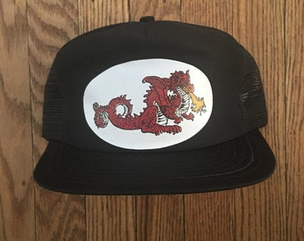 Vintage Fire Breathing Dragon Mesh Trucker Hat Snapback Baseball Cap Patch