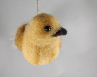 Needle Felted Animal, Feather-tailed Bird Ornament in Shades of Yellow