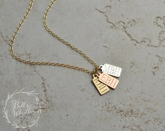 Gold Tag Necklace, new mom gift, Birthday Gift, Wedding date, anniversary date, initial necklace, new baby, new grandma, RECTANGLE