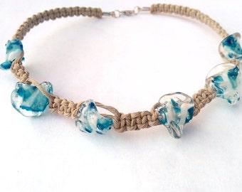 Hawaiian Necklace - Surfer Necklace, Beach Choker, Hawaiian Gifts, Hemp Choker, Beach Necklace, Beach Jewelry, Surf Jewelry, Hemp Necklace