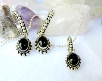 Onyx Necklace and Earrings Set/Sterling Silver Necklace Set
