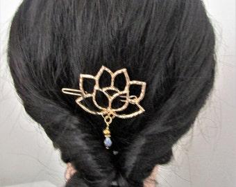Lotus flower Hair Barrette with a shiny drewdrop ~ Gold Tone ~ Lotus Hair Clip, Lotus Hair Accessory, Flower Hair Clip, Zen Hair Barrette