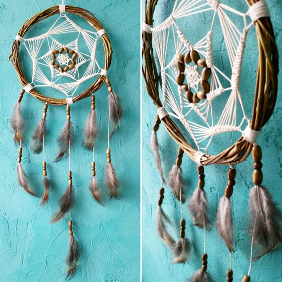 Brown Beige Dream Catcher, rustic medium dreamcatcher, bedroom decor, boho style, wall hanging, wall decor, handmade dreamcatcher