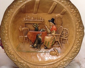 Welsh Amazing large plate. Welsh rustic scene