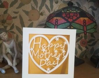 Mother's Day Card  - Papercut - Mum, Mummy,  Mom,  Mam,  Nan,  Aunty - Mother's Day Heart