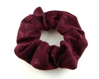 Scrunchie - style suede  - burgundy flowers motif