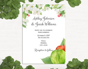 Garden wedding invitation template Apple wedding invitation printable Nature wedding invitation diy Green wedding invitation card 1W54