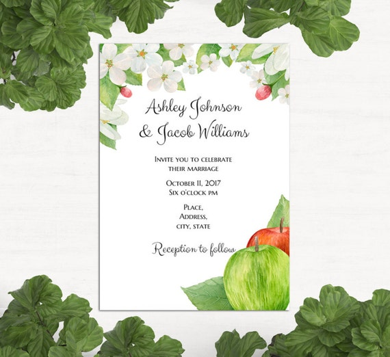 Apple Green Wedding Invitations: Garden Wedding Invitation Template Apple Wedding Invitation