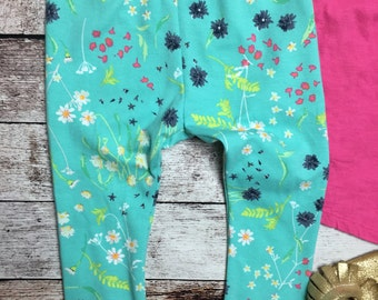 Teal and navy foral leggings