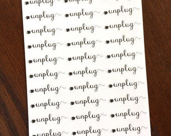 Unplug Planner Stickers - No Electronics Time - Family Time Stickers - Technology Free Stickers - Phones Off - No TV Time - Reading Time