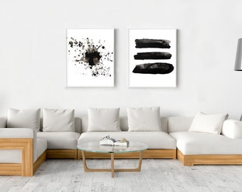 Large Abstract art Monochrome art Abstract Watercolor Prints Set Stripes Splatter Modern art Abstract Wall art Black White Ink Painting Boho