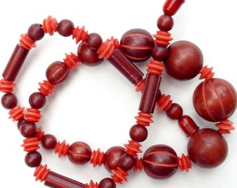 1930's Carved Celluloid Necklace