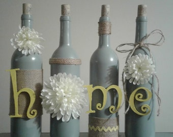 gray and yellow wine bottle decor, house warming gift, wine bottle craft, wine bottle crafts, wine bottles, rustic, burlap, twine