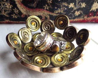 Polymer clay ring dish, small spiral bowl, gold trinket dish, antique style bowl