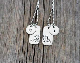 Her One Her Only hand stamped couples necklaces with date and initials discs / gay couples necklaces / lesbian couple / lgbt / personalized