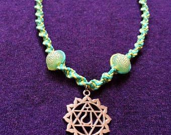 Heart Chakra Green Hemp Necklace