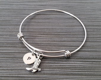 Cowgirl Bangle - Cowboy Boot Charm Bracelet - Expandable Bangle - Charm Bangle - Cowgirl Bracelet- Best Friend Bracelet - Cowboy Bracelet