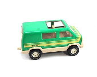 Vintage green metal Tonka van - truck, toy, yellow striped, 1970s toys, 1980s trucks, 70s, 80s, toy cars