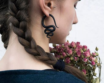 Fake gauge earrings black fake plugs fake gauges snakes