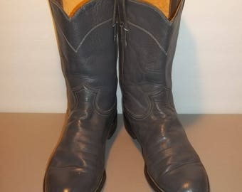Vintage Boots Cowboy Boots Western Boots Justin Roper Boots Gray Leather Ropers Made In USA Mens Boots Size 9.5 D Work Boots T29 M7068