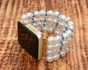 Apple watch band // fake pearl apple watch accessories 38mm / 42mm apple watch strap lugs adapter - iwatch band women - no-clasp stretch fit