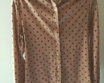 MUST GO 1970s disco brown red Italian button down top size medium