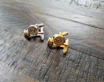 Handmade Spent Bullet Cuff Links Bullet Cufflinks Gold Men's Accessories 9mm .40 .45