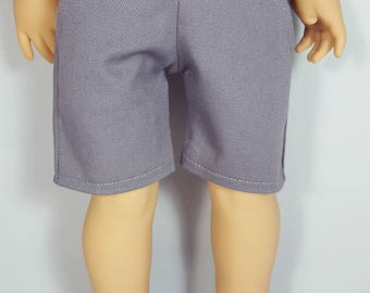 18 inch boy doll clothes - gray shorts
