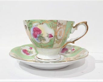 Thames Rose Teacup and Saucer Green Pink and Gold, Vintage Porcelain Teacup
