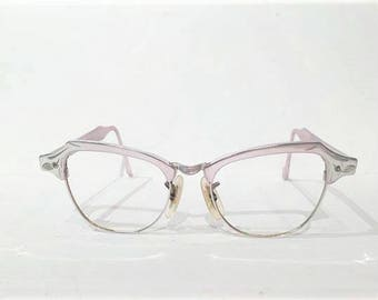 Bausch and Lomb Silver Aluminum Etched Cat Eye Glasses Frames, 50s 12K Gold Cateye Frames, Browline Silver Cateye Rockabilly Eyeglasses
