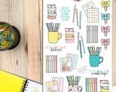 Planner papeterie Planner Stickers | Planner Addict Stickers | Ruban adhésif Stickers | Gel Pen Stickers | Planificateur de Clips autocollants (S-214)