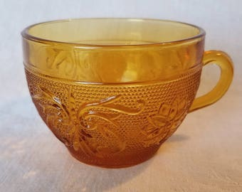AMBER INDIANA GLASS Tea Coffee Cup Pressed Scrolls Flowers Dots Drink Vintage Retro