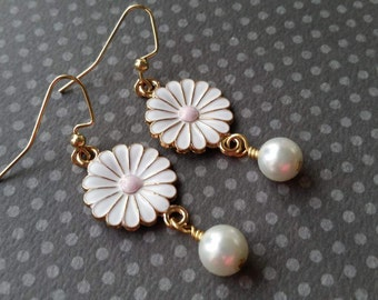 Pink and White Daisies . White Pearl Dangles . Earrings