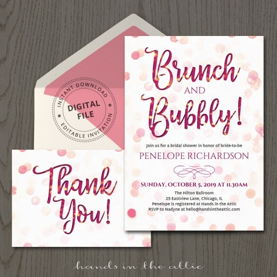 Brunch and bubbly bridal shower invitation thank you card champagne