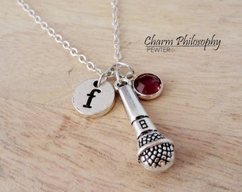 Microphone Necklace - Musician Jewelry - Personalized Monogram Initial and Swarovski Birthstone - Jewelry for Singers