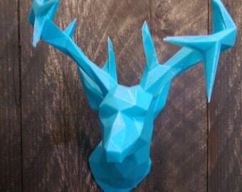 Polygonal Mounted Deer Head Magnet (3D Printed, Customizable)