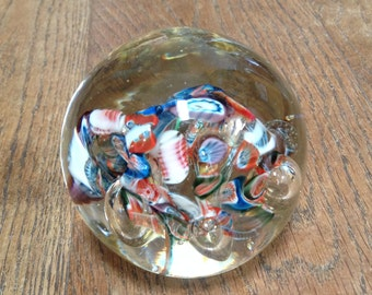 Vintage Multicoloured Milliforae Glass Paperweight - Beautiful Mottled Colours - Very Pretty