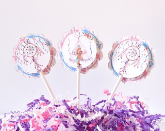 Boho Baby Shower Cake Toppers, Tribal Cupcake, Dream Catcher Favors, Teepee Tent Baby Shower Supplies,