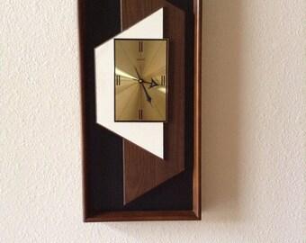 Vintage  Danish Modern Verichron Floating Panel Wall Clock Mid Century Modern