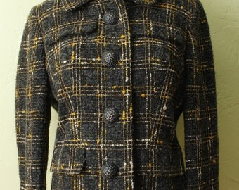 1960s Coat- Cropped Wool- Brown Yellow- Plaid- Large Buttons- Jacket- Mid Century