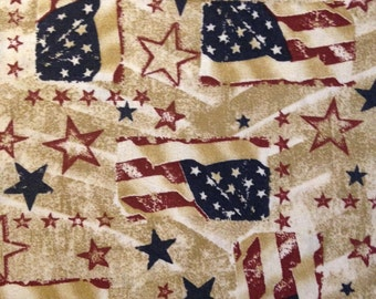 US Flag and Stars on Tan Background, Patriotic Prints, 100% Cotton