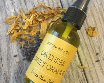 Lavender Sweet Orange Baby Oil ~ Baby Oil ~ Organic Baby Oil ~ Natural Baby Oil ~ Organic Baby Products ~ Baby Safe ~ Gentle Formula ~ Baby