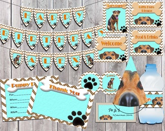 Puppy Party Package, Instant Download Party Pack, Party Printable Set