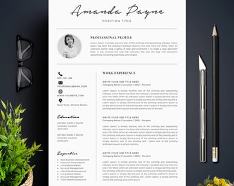 Resume Template With Photo / CV Template + Cover Letter | Instant Download  | Teacher Resume  Resume For A Teacher