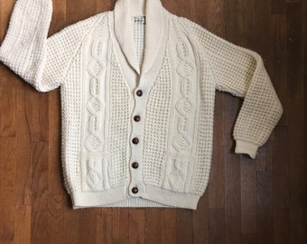 vintage 70s nordstrom cream wool shawl collar cable knit cardigan fisherman sweater made in Ireland