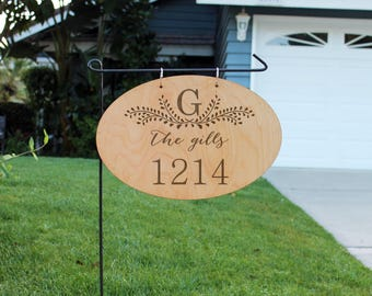 Personalized Wood Garden Flag, Custom Family Yard Sign, Address Yard Sign, Hanging Family Name Sign, Garden Yard Flag--hngw-oval-The Gills