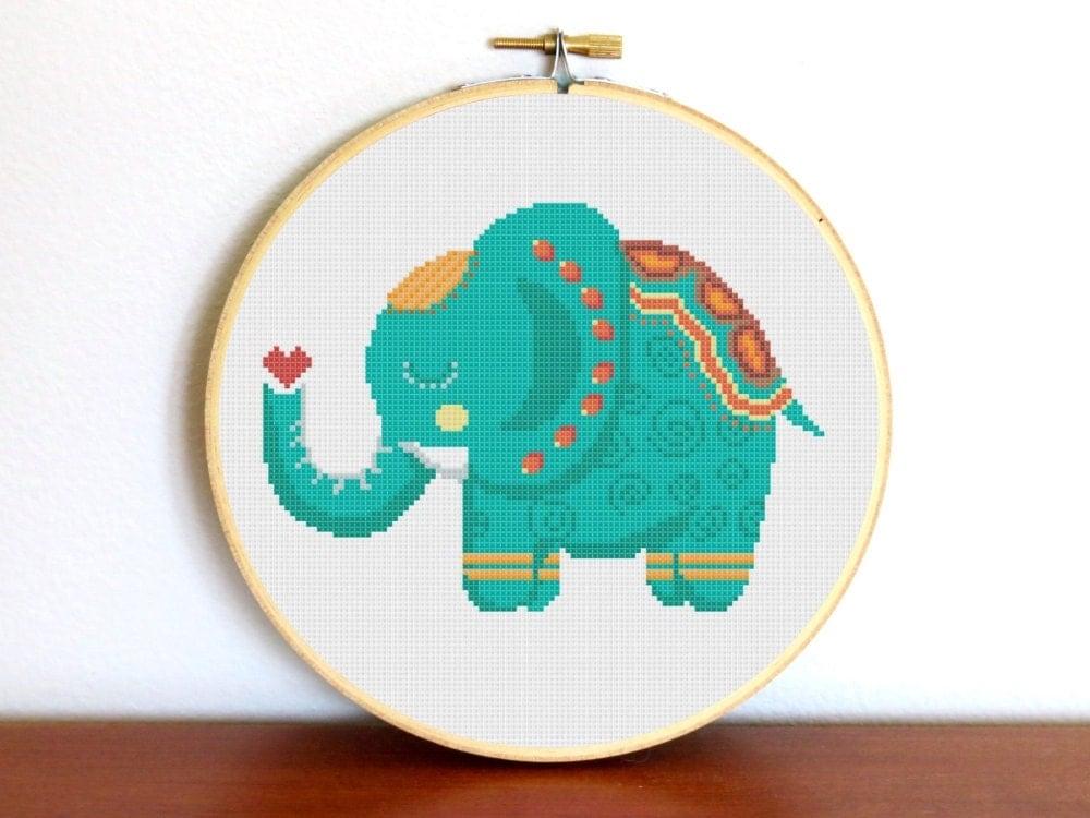 Cross stitch pattern modern elephant animal sampler indian