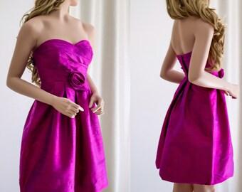 Pink Silk Cocktail Dress/ Sample Sale/ Pink Silk Dress/ Party Dress/ Formal Dress/ Prom Dress/ Short Dress