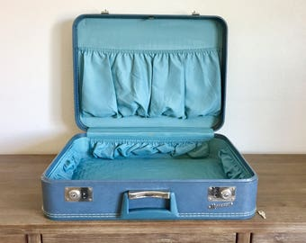 Blue suitcase | Etsy