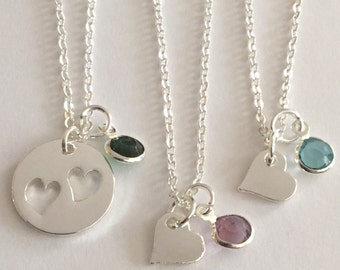 50 % off Mother and 2 Daughters or 3 daughters necklaces Cutout Heart necklaces with birthstones Free Gift Bag and birthstones are included